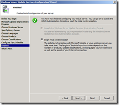 wsus config screen 8 - start