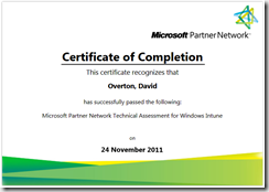 Windows Intune MPN Technical Assessment for Windows Intune