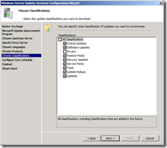 wsus config screen 6 - classifications