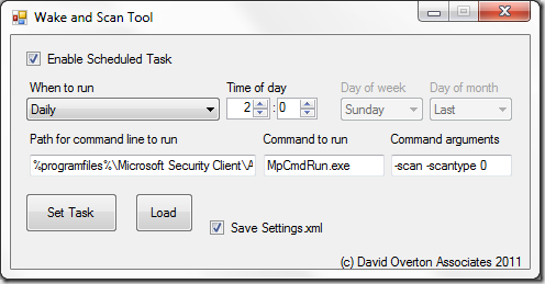 Schedule Task Tool - screen shot