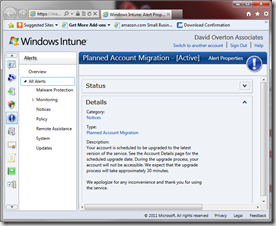 Alert - in Windows Intune