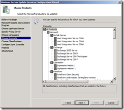 wsus config screen 5 - products